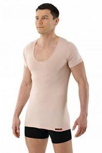 ALBERT KREUZ maillot de corps col v extra profond - invisible - coton stretch - couleur beige chair - manches courtes slimfit de la marque Albert Kreuz image 0 produit