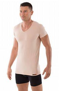 ALBERT KREUZ tee shirt moulant couleur chair avec manches courtes et col v spécial maillot de corps invisible sous chemise de la marque Albert Kreuz image 0 produit