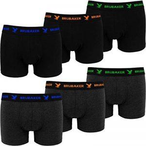 BRUBAKER Boxer rétro - Lot de 6 - Homme - Noir / Gris foncé avec Logos contrastés de la marque Brubaker image 0 produit