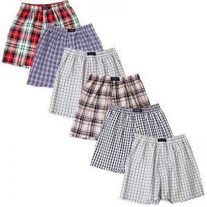 BRUBAKER lot de 6 Boxer-short hommes boxer shorts tissu caleçons en coton - peu froissable - rouge et tons de bleu M de la marque BRUBAKER image 0 produit