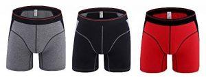 Caleçon boxeur en coton pour hommes, mi-taille longue jambe pantalon de sport 3 Pack de la marque deyou image 0 produit