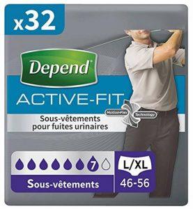 Depend Active Fit Sous-Vêtements Homme (7 Gouttes) Taille L/XL pour Fuites Urinaires et Incontinence x32 (4 Paquets de 8 Sous-Vêtements) de la marque Depend image 0 produit