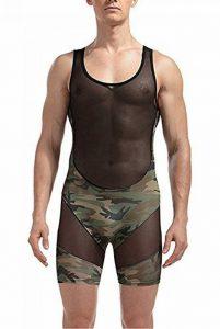 Freebily Body Maillot de corps Homme String Sous-vêtement Camouflage Transparent Extensible Débardeur Bikini Bodysuit Léotard Combinaison M-XXL de la marque Freebily image 0 produit
