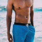 GUGGEN MOUNTAIN Maillot de bain pour homme de materiau high-tech slip shorts checked *Bleu Pourpe* de la marque GUGGEN Mountain image 3 produit