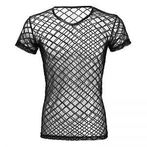 iEFiEL T-shirt Transparent Homme Lingerie Sexy Débardeur Chemise Manche Courte Noir Clubwear sous-vêtement M-XL de la marque iEFiEL image 0 produit