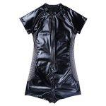 IINIIM Homme Combinaison Sous-vêtements Body Bodysuit en Cuir Zip Manches Courtes Maillot de corps Serré Costume Collant Noir M-XL de la marque iiniim image 1 produit