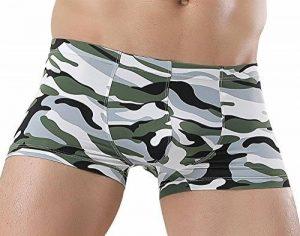 JIMEIJI Boxers Hommes Lisse Transparant Sous-vêtements Imprimé Dessin Camouflage Sexy Taille Basse Confortable Classique Mode Taille M/L/XL - Vert Armée/Marron/Rouge/Noir de la marque JIMEIJI image 0 produit