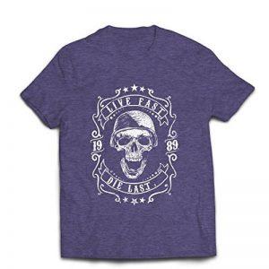 lepni.me T-shirt pour hommes Vive vite - mourir en dernier - citations de vélo, vêtements de moto, amour pour rouler, grand cadeau pour le motard de la marque lepni-me image 0 produit
