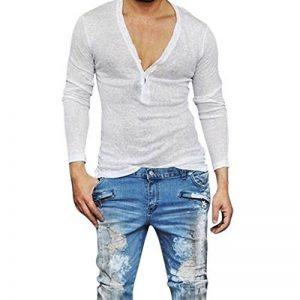 OHQ Shirt Respirant à Manches Longues pour Hommes Blanc Noir de Base Décontracté Slim Fit Col V Chemise Homme Manche Longue Chic Soiree de la marque OHQ image 0 produit