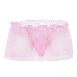 TiaoBug Lingerie Hommes Erotique G String Dentelle Slip Transparant Organza Thong Tanga Lace Bikini Briefs Sous-vêtements M-XL de la marque Tiaobug image 0 produit