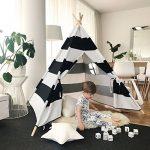 Tiny Land Tipi Enfant Tente de 1.5 m en Toile de Coton en Forme de, Bande Noire, par de la marque Tiny Land image 3 produit