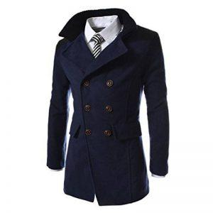 Toamen Hommes Manteau longue Chaud Faux Laine Veste Pardessus Hiver Mode (Marine, M) de la marque Taomen image 0 produit