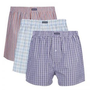 VANEVER Boxer Homme Coton 100% Americain Style Multicolore Caleçons Underwear Bouton Fly (lot de 3) de la marque VANEVER image 0 produit