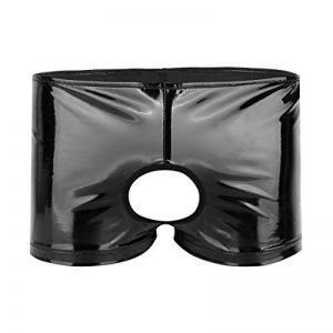 YiZYiF Noir Sous-vêtement Homme Lingerie Cuir Verni Boxer Fesse Ouvert Taille Basse Shorts String Pénis Hole Short de Bain Slip Cilotte M-XL de la marque YiZYiF image 0 produit