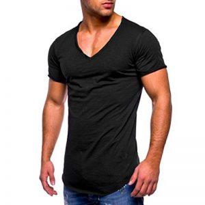 YUYOUG Hommes T-shirt Slim Fit col en V à manches courtes en coton Muscle Casual Tops Blouse de la marque YUYOUG_ Tops Homme image 0 produit